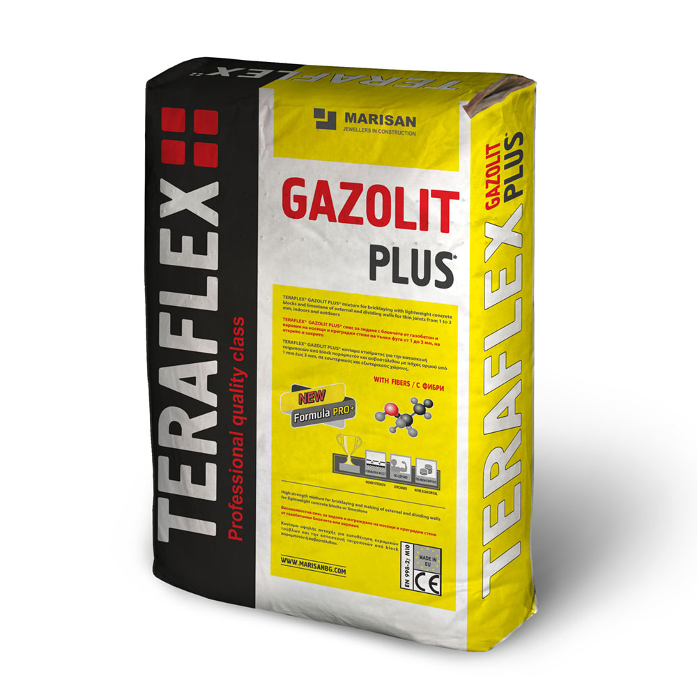 Строителна смес за газобетон ТЕРАФЛЕКС® ГАЗОЛИТ - 25 кг