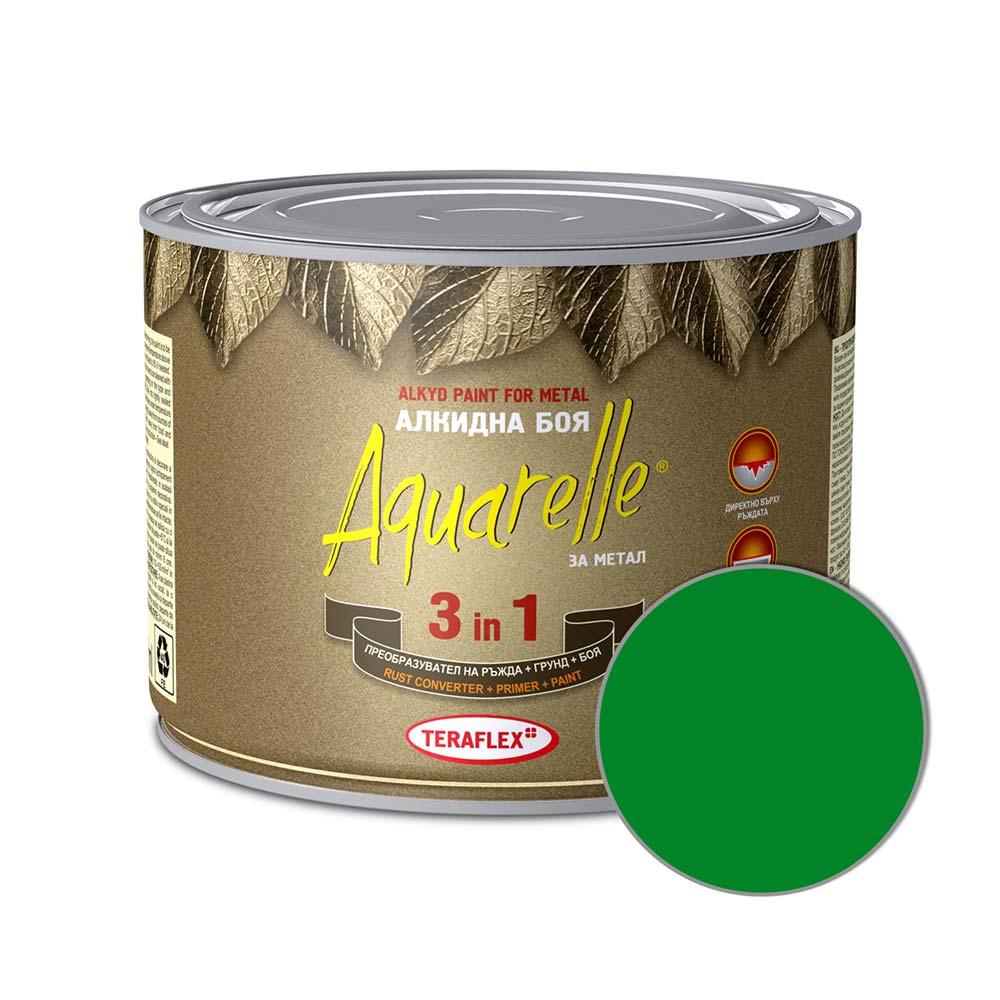 Алкидна боя за метал 3в1 AQUARELLE - зелена 0,450-17 л