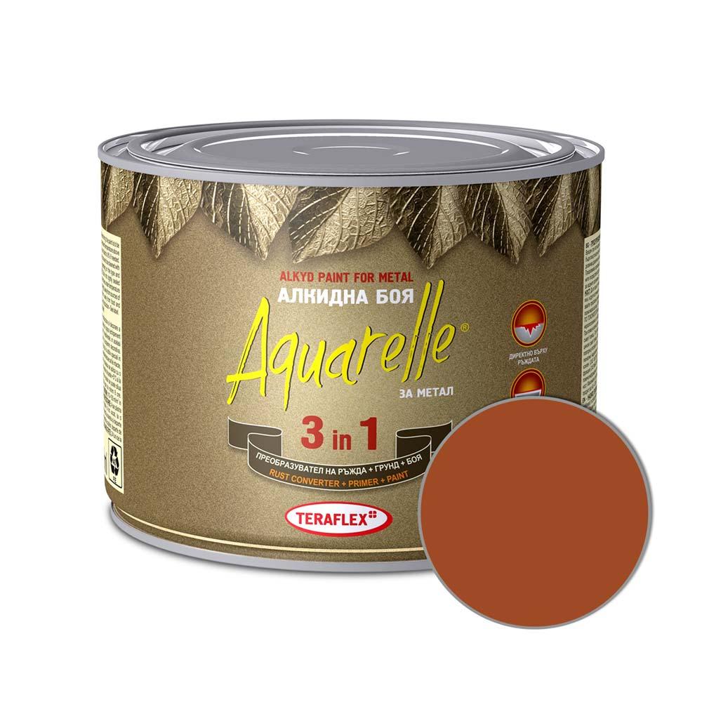 Алкидна боя 3в1 AQUARELLE - кафява 0,450-17 л