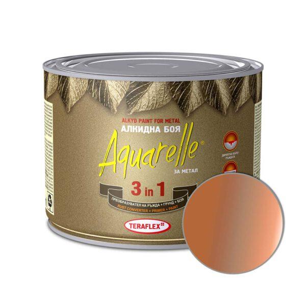 Алкидна боя за метал 3в1 AQUARELLE - мед металик 0,450-17 л