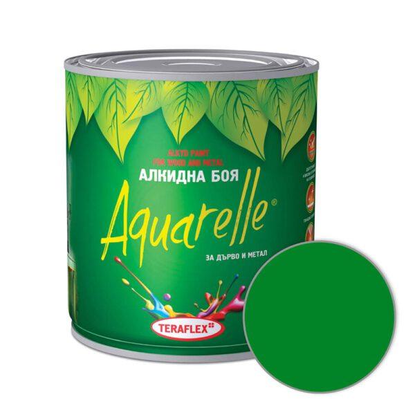Алкидна боя за метал и дърво AQUARELLE - зелена 0,600-17 л