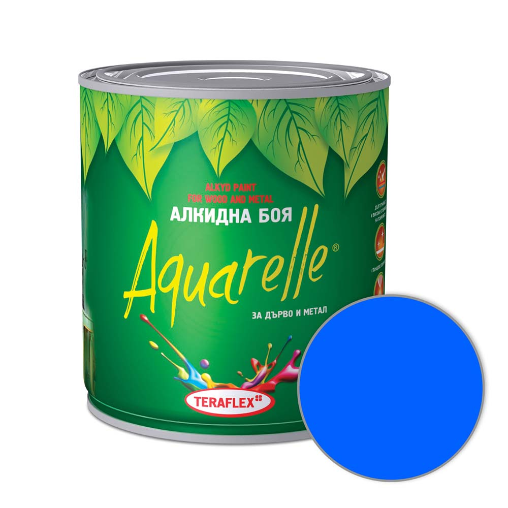 Боя за метал и дърво AQUARELLE - синя 0,600-17 л