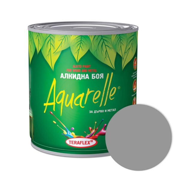 Алкидна боя за метал и дърво AQUARELLE - сива 0,600-17 л