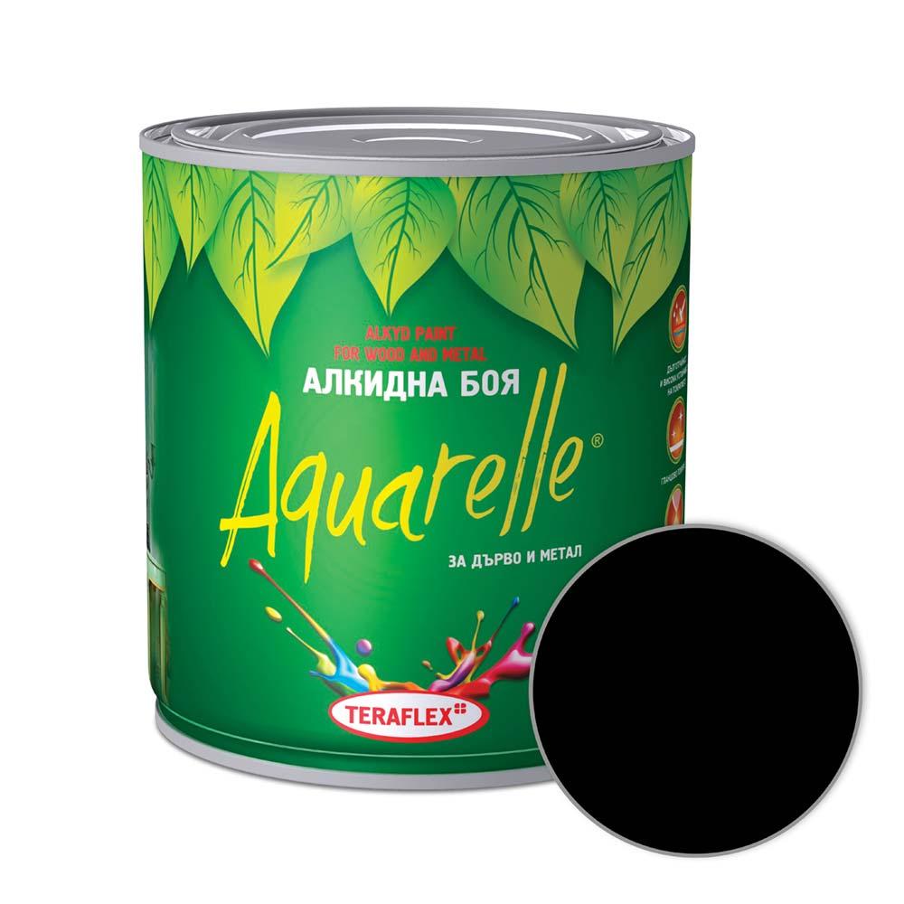 Алкидна боя за метал и дърво AQUARELLE - черна 0,600-17 л