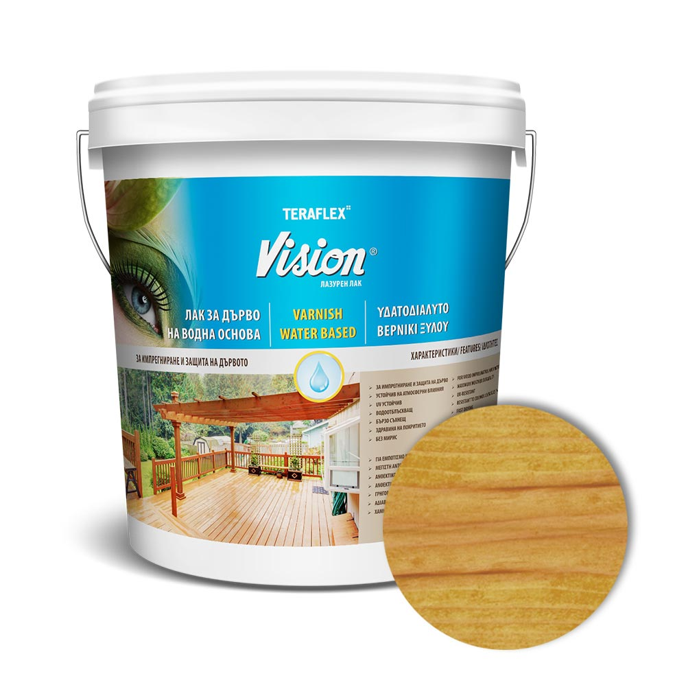 Лак за дърво на водна основа VISION - орех 0,700-2,5 л