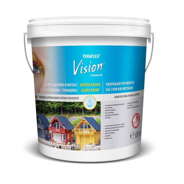 Боя за дърво на водна основа VISION- бял гланц 0,650-9л