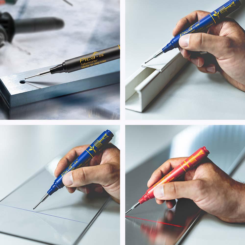 Маркер за дълбоки отвори PICA INK - черен приложения